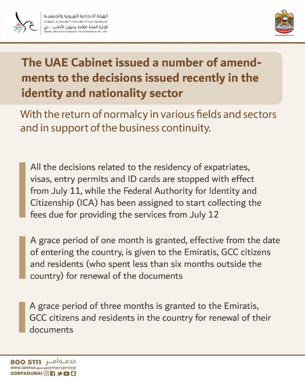 The decisions issued recently in the identity and nationality sector In dubai