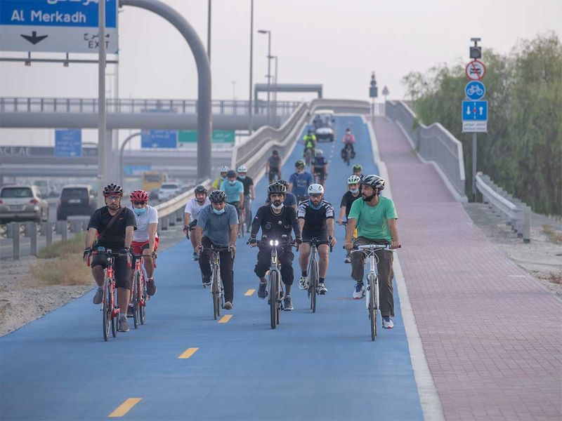 Dubai Ruler Sheikh Mohammed goes on bike ride through city